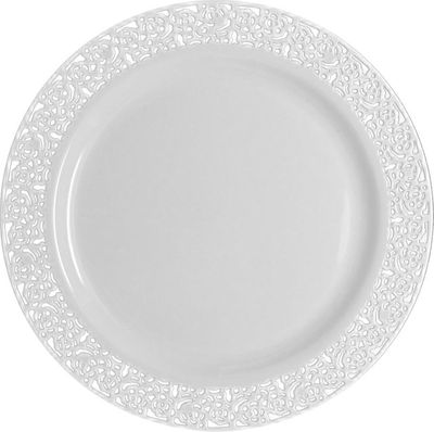 """Inspiration 9"""" White w/ White Lace Luncheon Plastic Plates *Case of 120*"""