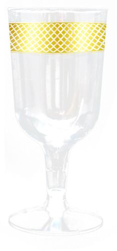 Inspiration Clear w/ Gold Border Plastic Wine Goblets 10ct.
