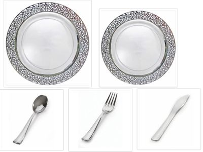 """Inspiration Clear w/ Silver Lace Border 10"""" Dinner Plates + 7"""" Salad Plates + Cutlery *Party for 20*"""