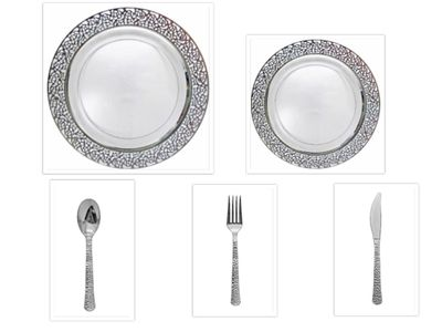 """Inspiration Clear w/ Silver Lace Border 10"""" Dinner Plates + 7"""" Salad Plates + Cutlery *Party for 40*"""