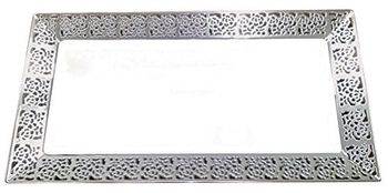 Inspiration Clear w/ Silver Lace Border Serving Trays 2ct.