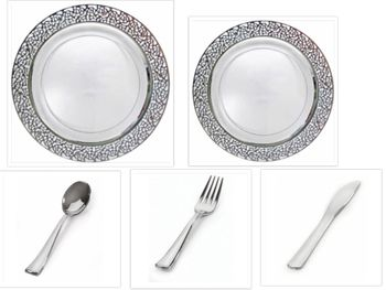 """Inspiration Clear with Silver Lace Border 10"""" Dinner Plates + 7"""" Salad Plates + Cutlery *Party for 100*"""