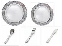"Inspiration Clear with Silver Lace Border 10"" Dinner Plates + 7"" Salad Plates + Cutlery *Party for 100*"