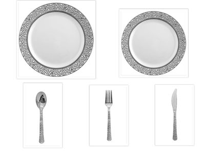 """Inspiration White w/ Silver Lace Border 10"""" Dinner Plates + 7"""" Salad Plates + Cutlery *Party for 40*"""