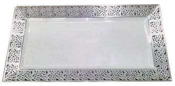 Inspiration White w/ Silver Lace Border Serving Trays 2ct.