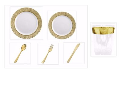"""Inspiration White with Gold Lace Border 10"""" Dinner Plates + 7"""" Salad Plates + Cutlery + Cups *Party of 60*"""