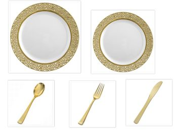 "Inspiration White with Gold Lace Border 10"" Dinner Plates + 7"" Salad Plates + Cutlery *Party of 100*"