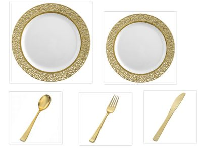 """Inspiration White with Gold Lace Border 10"""" Dinner Plates + 7"""" Salad Plates + Cutlery *Party of 100*"""