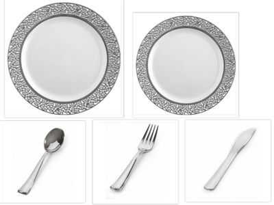 """Inspiration White with Silver Lace Border 10"""" Dinner Plates + 7"""" Salad Plates + Cutlery *Case of 120*"""
