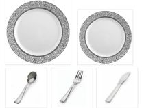 "Inspiration White with Silver Lace Border 10"" Dinner Plates + 7"" Salad Plates + Cutlery *Party for 100*"