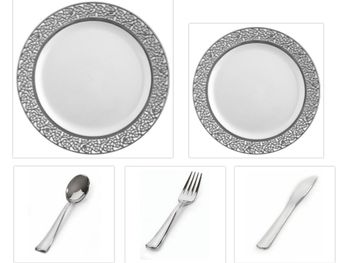 """Inspiration White with Silver Lace Border 10"""" Dinner Plates + 7"""" Salad Plates + Cutlery *Party for 120*"""