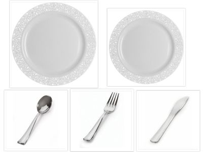 "Inspiration White with White Lace Border 10"" Dinner Plates + 7"" Salad Plates + Cutlery *Case of 120*"