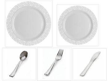 """Inspiration White with White Lace Border 10"""" Dinner Plates + 7"""" Salad Plates + Cutlery *Party for 120*"""