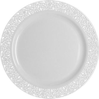 "Inspiration 10.25"" White w/ White Lace Border Banquet Plastic Plates 10ct."