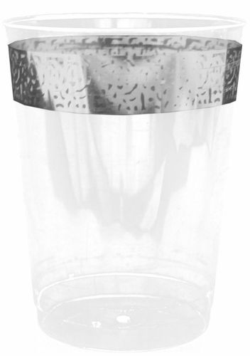 Inspiration 10oz. Clear Plastic Cup with Silver Lace Border 10ct.