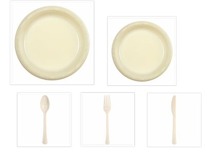 "Ivory Plastic 10"" Dinner Plates + 7"" Salad Plates + Cutlery *Case of 100*"