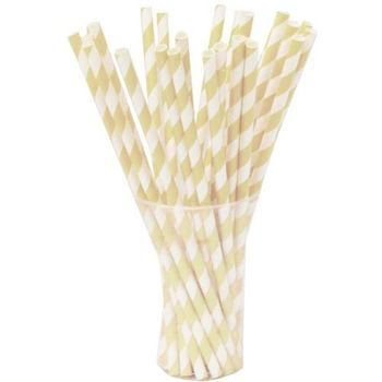 Ivory Striped Paper Straws 25ct.