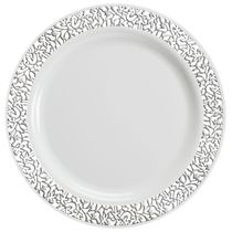 Lace Collection White/Silver 10.25″ Dinner Plastic Plates 120ct.