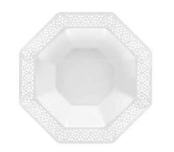 Lacetagon 14oz. White w/ White Lace Border Octagon Soup Bowls 10ct.