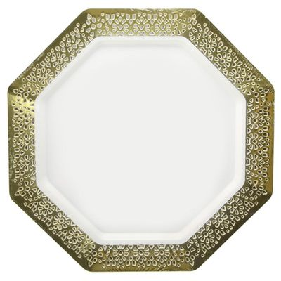 "Lacetagon 7.25"" Pearl w/Gold Lace Border Octagon Salad/Dessert Plastic Plates 10ct."