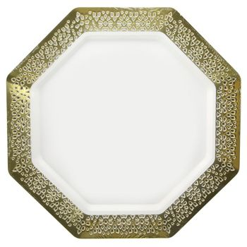 "Lacetagon 9.25"" Pearl w/Gold Lace Border Octagon Luncheon Plastic Plates 10ct."