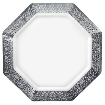 """Lacetagon 9.25"""" Pearl w/Silver Lace Border Octagon Luncheon Plastic Plates 10ct."""