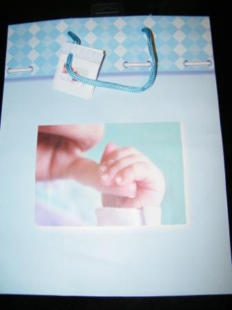 Large Blue Gift Bag With Photo Of Baby Fingers