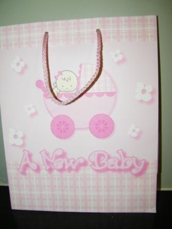 "Large Pink ""A New Baby"" Gift Bag"