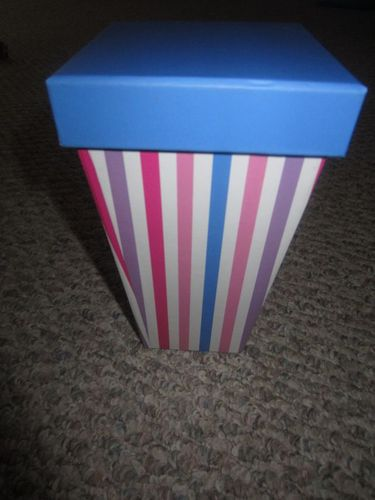 "Large Popcorn Striped Box with Blue Cover 5"" x 5"" x 8"""