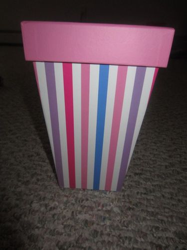 """Large Popcorn Striped Box with Pink Cover 5"""" x 5"""" x 8"""""""