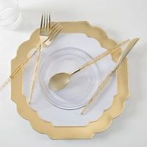 """Laura Ashley Flower Collection 10.5"""" Gold w/ Gold Rim Plastic Dinner Plates 10ct."""