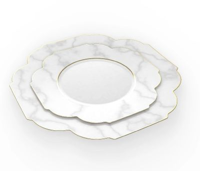 """Laura Ashley Flower Collection 10.5"""" White Marble w/ Gold Rim Plastic Dinner Plates 10ct."""