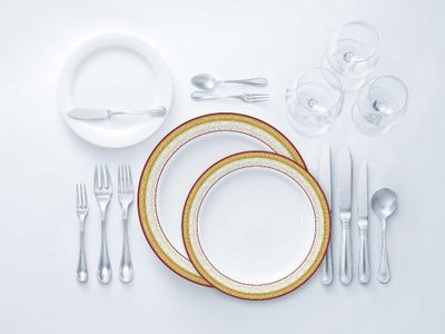 Laurel Collection Tableware Set of 32 White Party Plates w/Burgundy and Gold Border