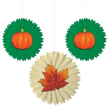 Leaves and Pumpkins Tissue Fans with Attachments, 3 count