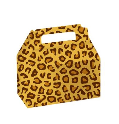 Leopard Cookie/Candy Treat Boxes with Carry Handle, 2 count