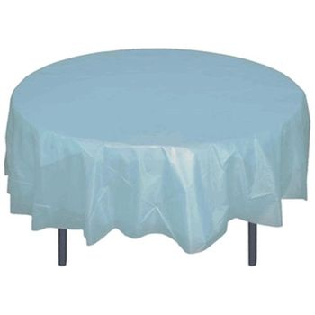 "Light Blue 84"" Round Plastic Tablecloths"