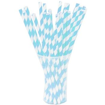 Light Blue Striped Paper Straws 25ct.
