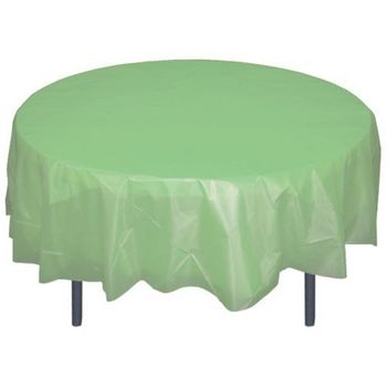 """Light Mint 84"""" Round Plastic Tablecloths Table Covers"""
