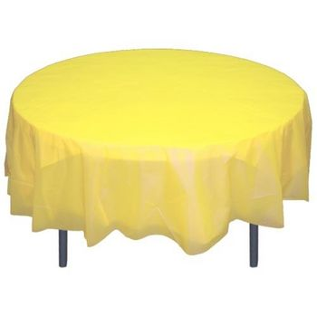 "Light Yellow 84"" Round Plastic Tablecloths Table Covers"