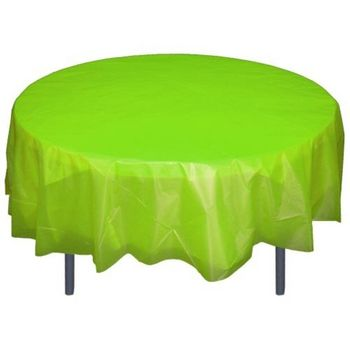 "Lime Green 84"" Round Plastic Tablecloths Table Covers"