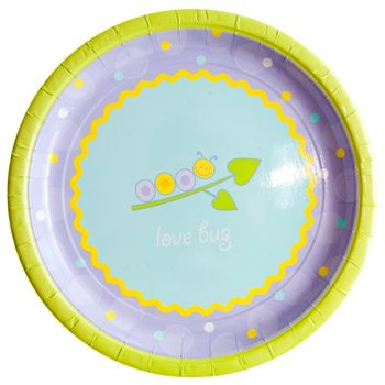 "Love Bug Baby Shower 10"" Banquet Paper Plate 8ct."