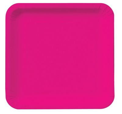 """Magenta 7"""" Square Lunch Plates, 18 ct."""