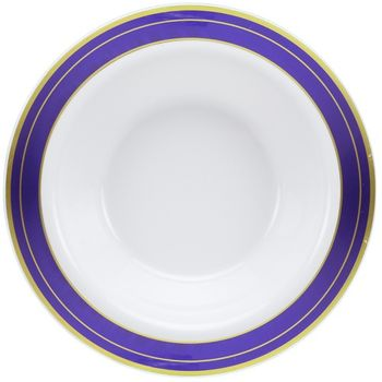 Magnificence 14oz. White Plastic Soup Bowls w/ Blue and Gold Rim, 10ct.