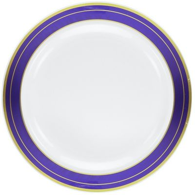 """Magnificence White w/ Blue and Gold Rim 10.25"""" Plastic Banquet Plates, 10ct."""