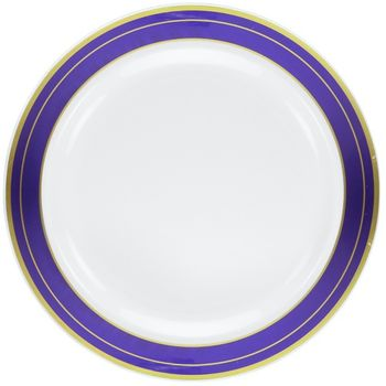 """Magnificence White w/ Blue and Gold Rim 9"""" Plastic Luncheon Plates, 10ct."""
