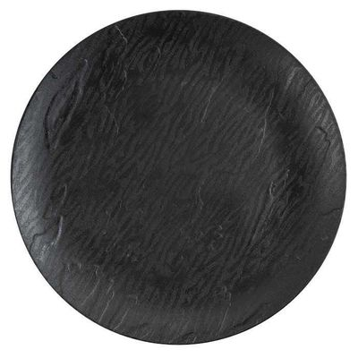 """Mahogany Collection 10"""" Black Wood-Like Plastic Dinner Plates, 10 count"""