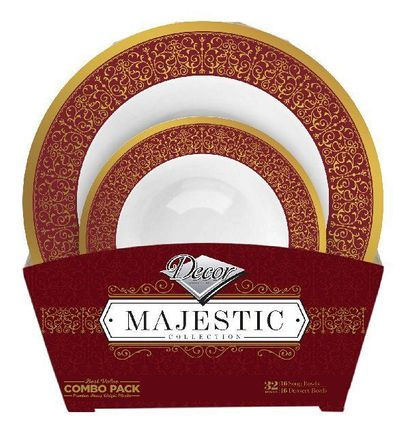 Majestic Collection Tableware Set of 32 White Bowls w/Burgundy and Gold Border