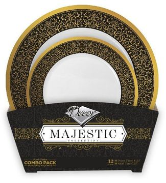 Majestic Collection Tableware Set of 32 White Party Plates w/Black and Gold Border