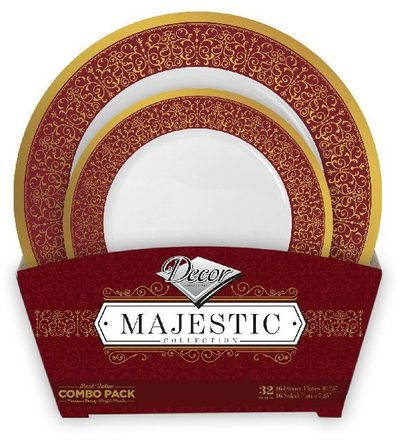Majestic Collection Tableware Set of 32 White Party Plates w/Burgundy and Gold Border