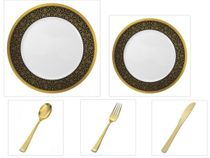 "Majestic Collection White w/Black & Gold Border China-Like Plastic 10.25"" Dinner Plates + 7"" Salad Plates + Cutlery *Party for 120*"